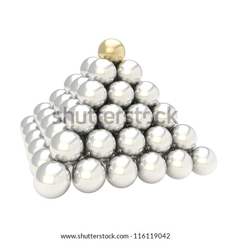 Leadership conception as pile pyramid of glossy silver chrome spheres with one golden at the top, isolated on white background - stock photo