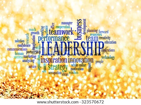 Leadership conceptual text word cloud - stock photo