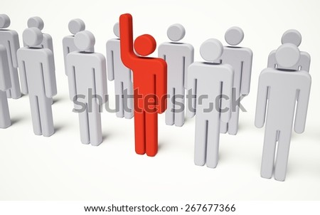 Leadership. 3D. Standing Out - stock photo