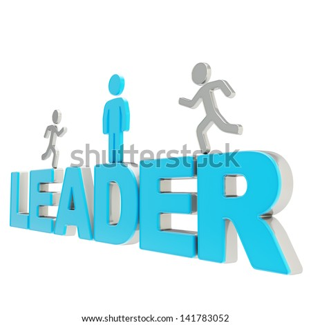 Leadership illustration: group of human symbolic figures running over the blue word leader composition isolated on white background - stock photo