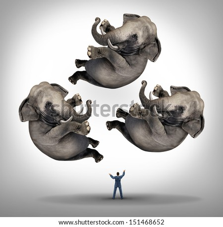 Leadership management business concept as a businessman juggler juggling three elephants up in the air as a symbol of managing power and being a strong leader and a metaphor for expertise and skill. - stock photo