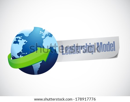 leadership model sign illustration design over a white background