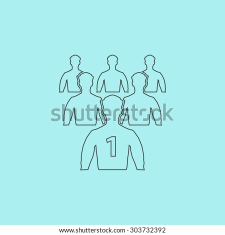 Leadership. Outline simple flat icon isolated on blue background