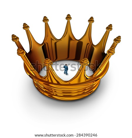 Leadership prisoner business concept as a businessman trapped and restricted inside a gold king crown as a metaphor for having management restrictions and limited in powers to do much. - stock photo