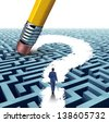 Leadership questions searching for solutions as a businessman walking through a complicated maze opened up by a pencil eraser question mark as a business concept of advice for financial success. - stock vector