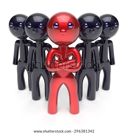 Leadership teamwork boss stylized red character leader black men crowd businessman team leader individuality five cartoon persons icon social relationship friends concept 3d render isolated - stock photo