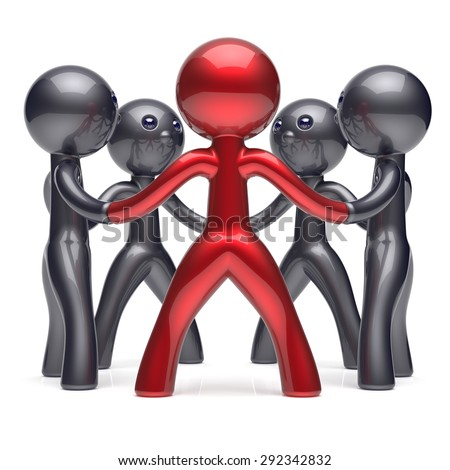 Leadership teamwork circle people social network human resources individuality character friendship team five cartoon friends unity meeting icon concept red black. 3d render isolated - stock photo