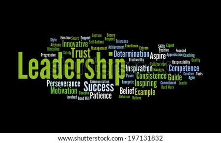 Leadership Word cloud:Words relating and associated with leadership qualities have been written in the form of a word cloud  - stock photo