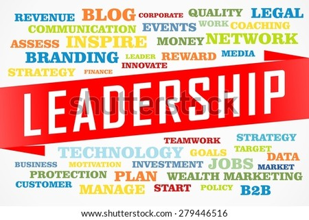 leadership word collage concept on red line