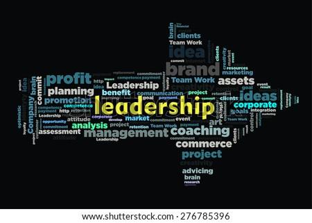 leadership word on cloud concept with arrow shape - stock photo