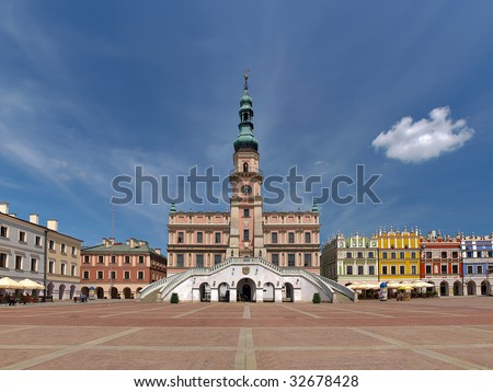 Leading the market and town hall in Zamosc - baroque building in the Old Town, Poland. The historical city centre was added to the UNESCO World Heritage List (in 1992).