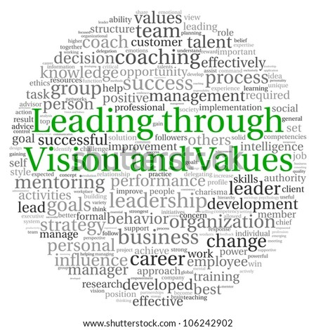 Leading through vision and values concept in word tag cloud on white background