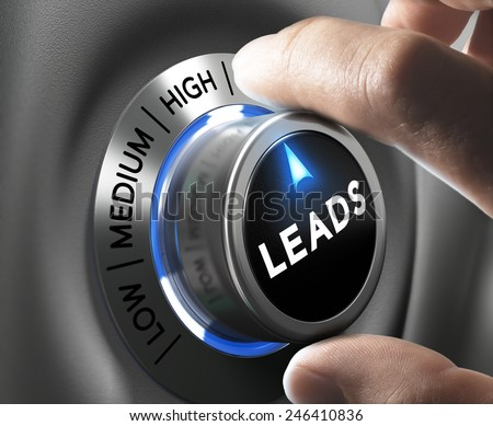 Leads button pointing  high position with two fingers, blue and grey tones, Conceptual image for increasing sales lead. - stock photo