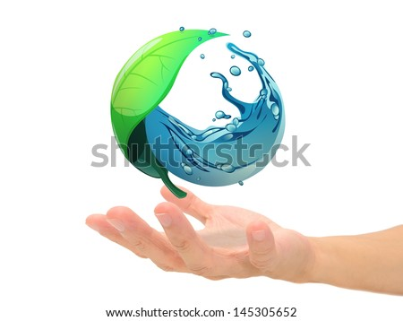 leaf and water circle in sphere shape on hand, green globe concept