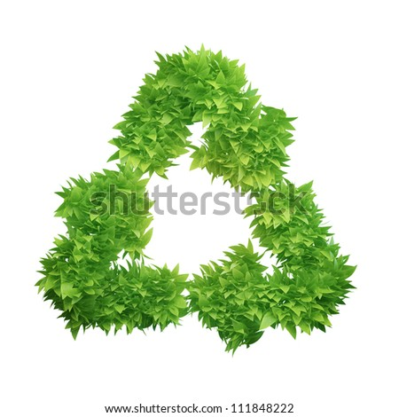 Leaf covered recycling symbol isolated on white