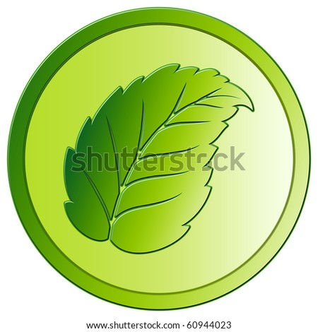 Leaf - Green Eco Button - stock photo
