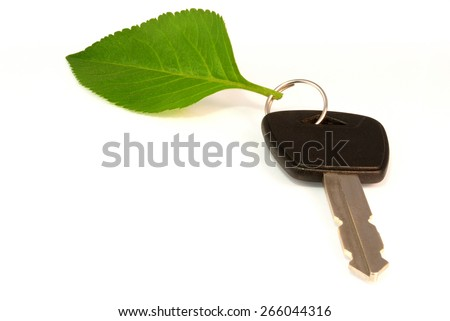 Leaf key ring from electric or hybrid car - stock photo