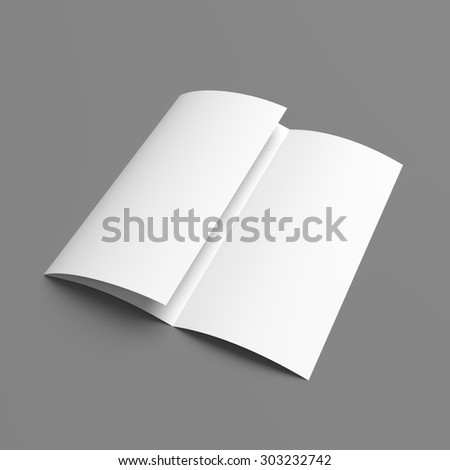 Leaflet blank tri-fold white paper brochure mockup on grey background - stock photo