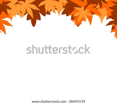 Leafy Autumnal border isolated on white background.