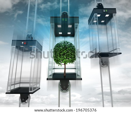 leafy tree in the middle elevator as vertical transport concept illustration - stock photo