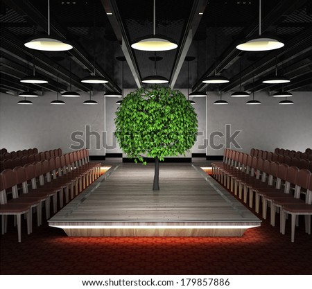 leafy tree situated on fashion exhibition podium concept illustration - stock photo