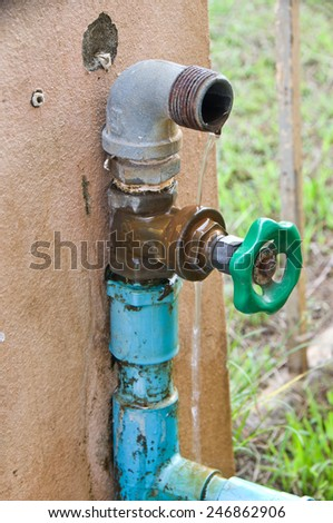 leak out water pipe and valve  - stock photo