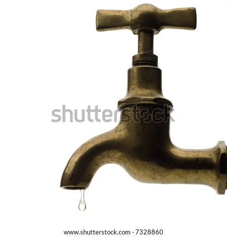 leaking tap on white - stock photo