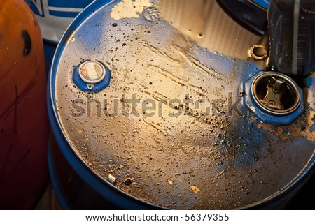 leaky oil barrel - stock photo