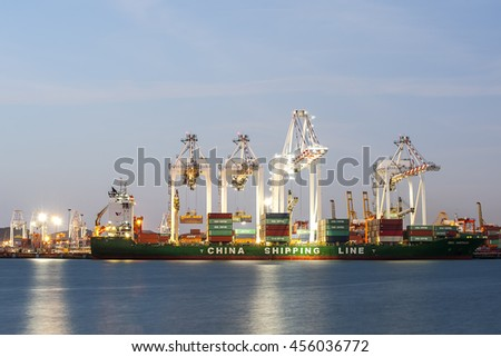 Leamchabang - Thailand, JAN 09, 2016: General View Containers in Leamchabang industry marine port and cargo ship during transfer goods on JAN 09, 2016 in Chonburi, Thailand.