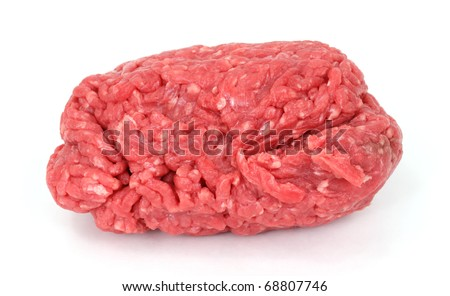 Lean ground beef freshly ground on a white background. - stock photo