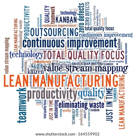 Lean Manufacturing in word collage - stock photo