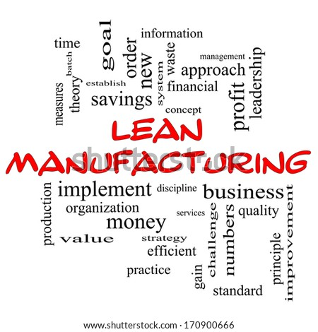 Lean Manufacturing Word Cloud Concept in red caps with great terms such as quality, discipline, concept and more. - stock photo