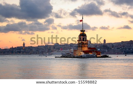 Leanders Tower on front of Istanbul silouette - stock photo