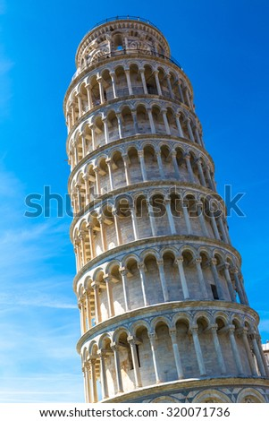 Leaning tower in a summer day in Pisa, Italy