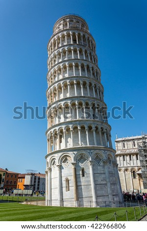 Leaning Tower in the Square of Miracles in Pisa