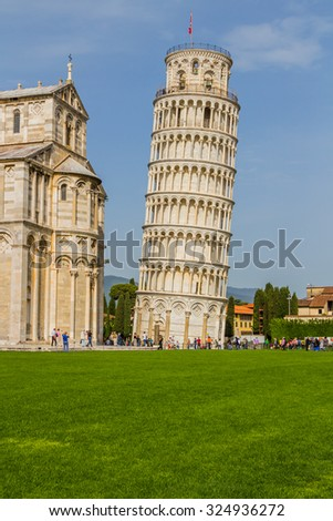 Leaning Tower of Pisa and the Cathedral in Pisa, Italy