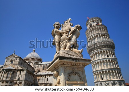 Leaning tower of Pisa, blue sky, Italy - stock photo