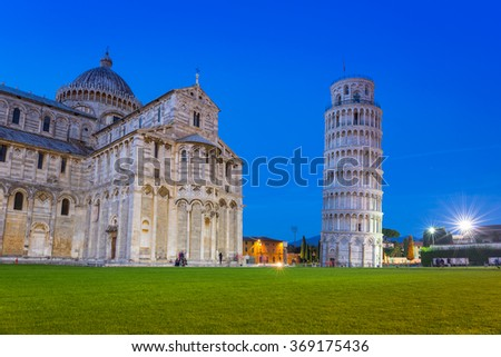 Leaning Tower of Pisa on Piazza dei Miracoli, Italy - stock photo