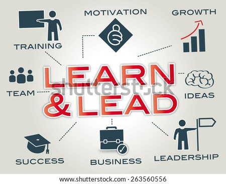 Learn and Lead - Infographic with Keywords and icons - stock photo