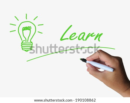 Learn and Lightbulb Meaning Training and Learning Skills or Knowledge