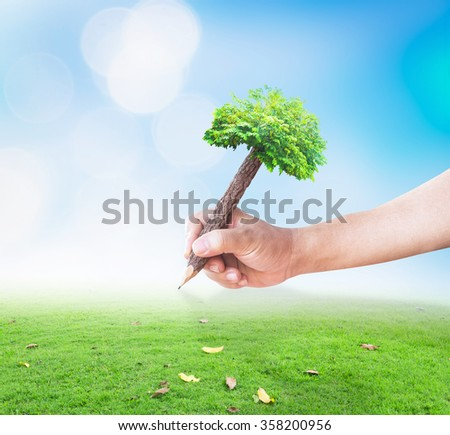 Learn concept. Ecology Human Plant House Nature Finance Arbor CSR Property Mission Plan Save Bio Forest Wealth Project Creation System Care Trust Freedom Wisdom Grass Pencil Write Change Bokeh Meadow
