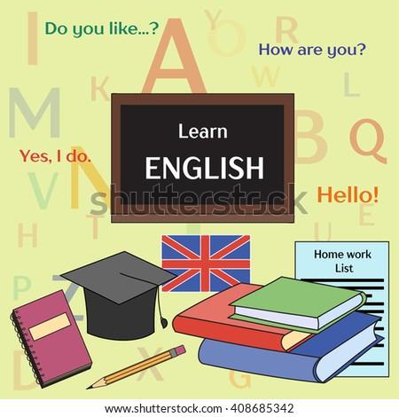 Learn English concept. Books, training, education.  - stock photo