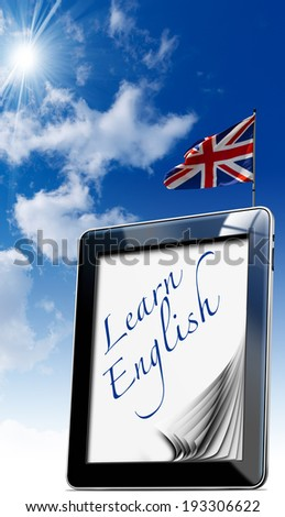 """Learn English - Tablet Computer / Black tablet computer with pages and word """"learn english"""" on display and british flag on a blue sky  - stock photo"""