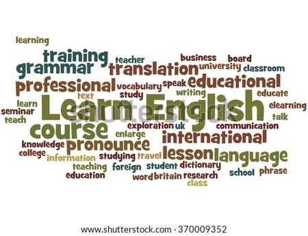 Learn English, word cloud concept on white background.