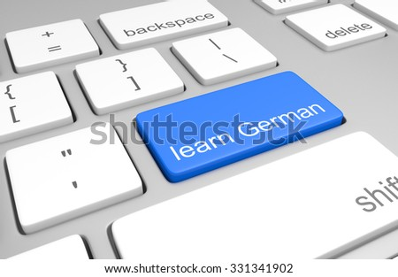 Learn German key on a computer keyboard for online classes on speaking, reading, and writing the language