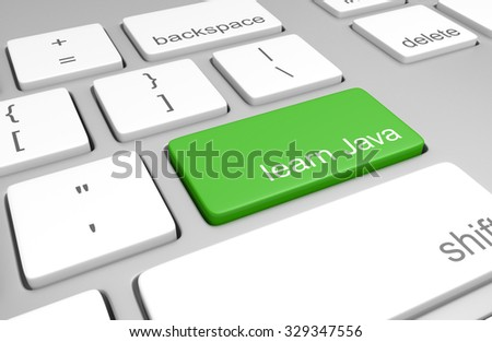 Learn Java key on a computer keyboard for learning to code and build web pages - stock photo