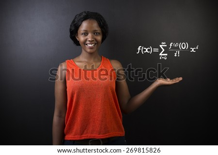 Learn Math or Maths South African or African American woman teacher or student chalk blackboard background - stock photo