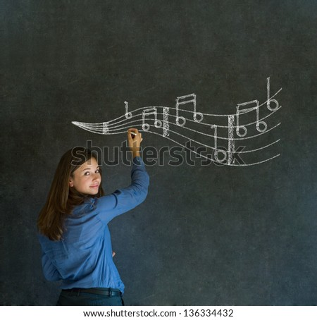 Learn music business woman, student or teacher chalk blackboard background - stock photo