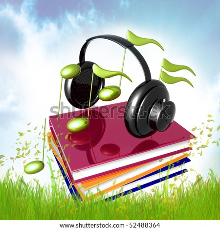 Learn music from books icon illustration - stock photo