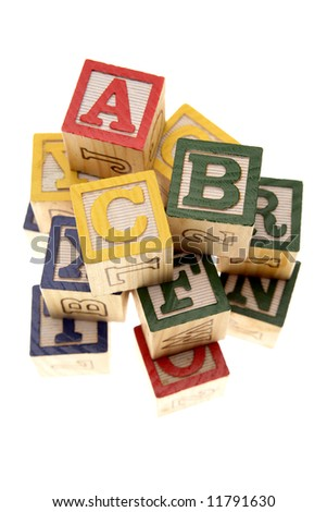 Learning blocks isolated over white - stock photo